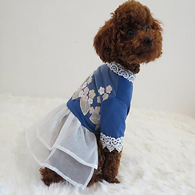 Dog Dress Dog Clothes Solid Colored Blue Fabric Costume For Pets Women's Party Casual/Daily Cowboy Holiday Birthday Cosplay Fashion