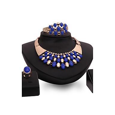 Mulheres Gema Strass Chapeado Dourado Luxo Conjunto de jóias - Personalizada Luxo Vintage Importante Euramerican Fashion Outros Flor Azul