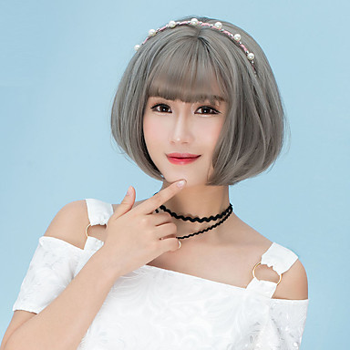 Synthetic Wig Straight Bob Haircut / With Bangs Synthetic Hair Brown / Gray Wig Women's Short Capless