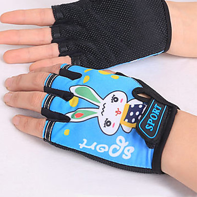 Sports Gloves Kid's Cycling Gloves Spring Summer Bike Gloves Wearable Breathable Protective Durable Sweat-Wicking Fingerless Gloves Lycra