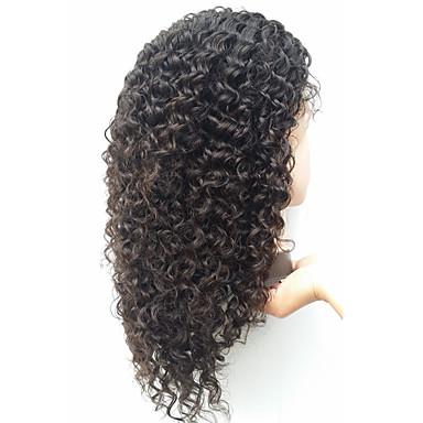 Ekte hår Helblonde Parykk Afro 130% tetthet Naturlig hårlinje / Afroamerikansk parykk / 100 % håndknyttet Dame Medium / Lang Blondeparykker med menneskehår