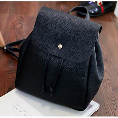 Women's Bags Nylon leatherette Backpack Buttons for Casual Fall All Seasons Black