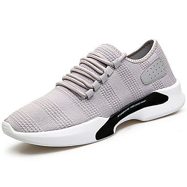 Miesten kengät Silkki Kesä Comfort Urheilukengät Kävely Solmittavat varten Kausaliteetti Valkoinen Musta Harmaa