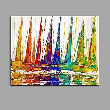 Pintados à mão Abstrato Horizontal, Abstracto Tela de pintura Pintura a Óleo Decoração para casa 1 Painel