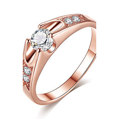 Mulheres Zircônia cúbica Anel Anel de noivado - Rosa ouro, Zircônia Cubica Clássico, Elegante 6 / 7 / 8 / 9 Ouro Rose Para Casamento Aniversário Festa / Noivado