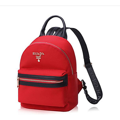 Women Bags All Seasons Cowhide Backpack with for Casual Black Red
