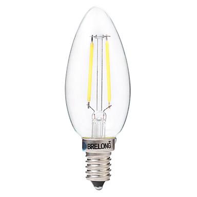 BRELONG® 1pc 2W 200lm E14 LED Filament Bulbs C35 2 LED Beads COB Decorative Warm White White 220-240V