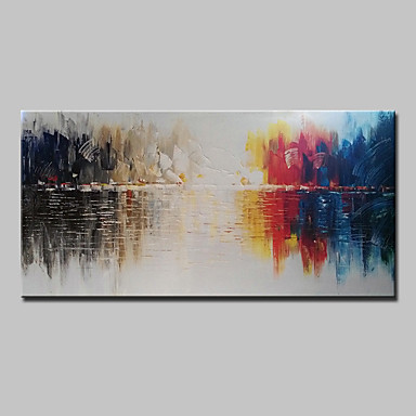 Håndmalte Abstrakt Vannrett, Abstrakt Moderne Lerret Hang malte oljemaleri Hjem Dekor Et Panel