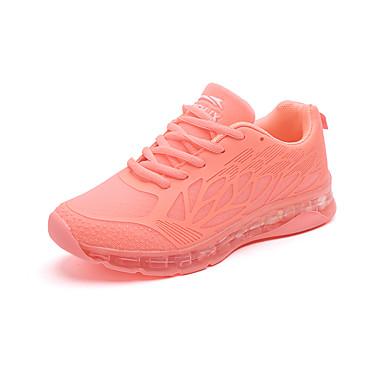 Dame Sko PU Høst Komfort Flate sko Gange Flat hæl Rund Tå Snøring til Atletisk Avslappet Formell Hvit Oransje Grå Blå