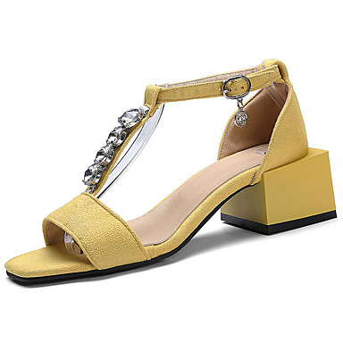 Mujer Zapatos Ante Verano Confort Zuecos y pantuflas Talón de bloque Punta cerrada Negro / Verde kr2IRi2Rv2