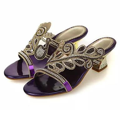 Mulheres Sapatos Micofibra Sintética PU Verão Outono Conforto Inovador Saltos Caminhada Salto Agulha Dedo Aberto Pedrarias para Casual