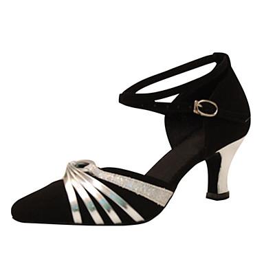 Mulheres Sapatos de Dança Moderna Seda Sandália Cruzado Salto Cubano Personalizável Sapatos de Dança Preto-branco / Preto e Prateado