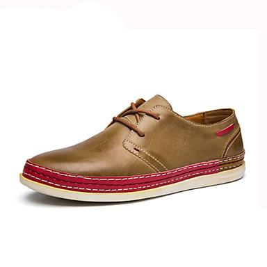 Homens sapatos Couro Ecológico Primavera Outono Conforto Oxfords Cadarço para Casual Amarelo Café Marron