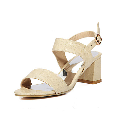 Women's Shoes Synthetic Microfiber PU PU Spring Summer Basic Pump Heels Chunky Heel Round Toe Buckle For Wedding Casual Dress Party &