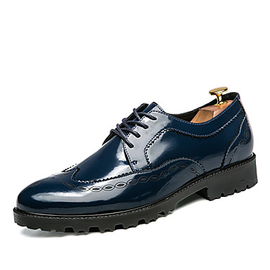 Men's Formal Shoes Leather Spring / Fall Oxfords White / Black / Blue / Wedding / Party & Evening / Dress Shoes