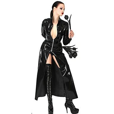 Cosplay Kostumer uniformer Festival/Højtider Halloween Kostumer Sort Ensfarvet Frakke Halloween Karneval Kvindelig Polyurethan Læder