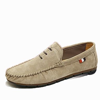 Miesten kengät PU Kevät Syksy Comfort Mokkasiinit Kävely varten Kausaliteetti Musta Oranssi Khaki