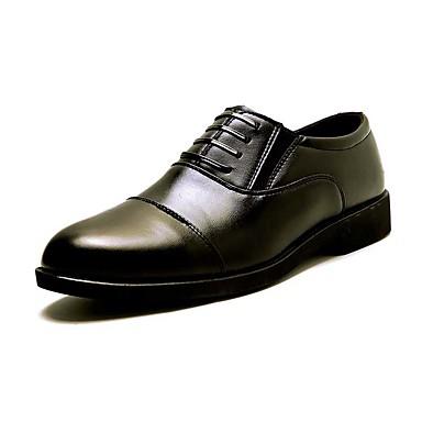 Homens sapatos Couro Ecológico Courino Verão Outono Sapatos formais Sapatos De Casamento Cadarço para Festas & Noite Preto