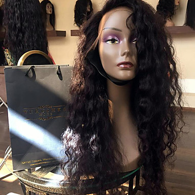 Human Hair Lace Front Wig Water Wave 150% Density 100% Hand Tied African American Wig Natural Hairline Short Medium Long Women's Human