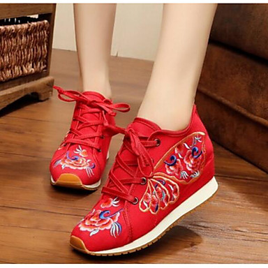 Women's Shoes Fabric Canvas Summer Flat Comfort Sneakers Closed Toe for Casual Black Red Blue