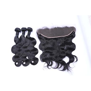 Cabelo Brasileiro Onda de Corpo Cabelo Humano Ondulado 3 pacotes com fechamento Tramas de cabelo humano Preto Natural Extensões de cabelo humano