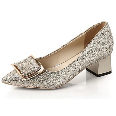 Női Cipő PU Tavasz Kényelmes Magassarkúak Vaskosabb sarok Erősített lábujj mert Ruha Arany Fekete Ezüst