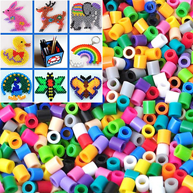 ca. 500pcs / bag 5mm Mischfarbe Bügelperlen Hama Perlen DIY-Puzzle EVA-Material safty für Kinder (gelegentliche Farbe)