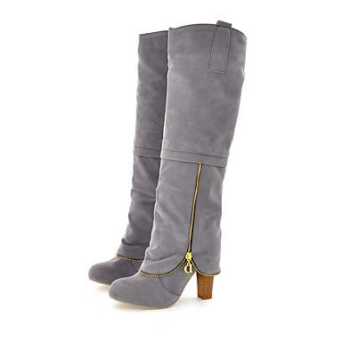 Damen Schuhe PU Winter Pumps Modische Stiefel Stiefel Blockabsatz Runde Zehe Kniehohe Stiefel Für Normal Grau Rot
