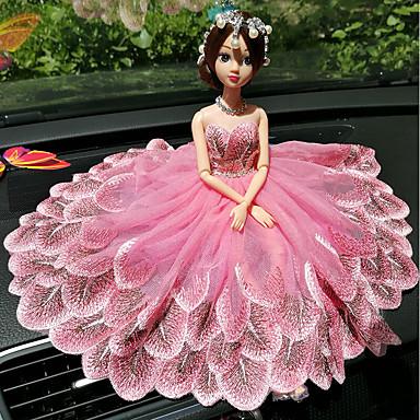 DIY autóipari díszek kreatív divat karikatúra barbie baba csipke esküvői fény por hercegnő autó medál&Dísz hímzés
