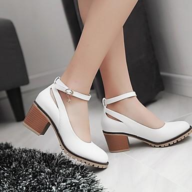 Women's Shoes PU(Polyurethane) Spring Comfort Flats Heel Low Heel / Chunky Heel Flats Round Toe White / Black / Almond 20f814