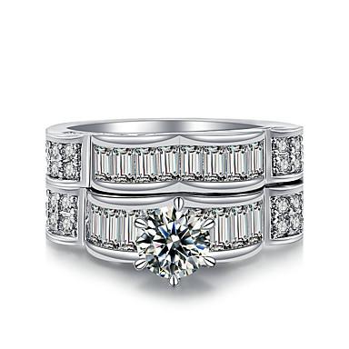 Női Luxus / Többrétegű Kocka cirkónia Kocka cirkónia / Ezüst Band Ring - Circle Shape Luxus / Vintage / Elegáns Ezüst Gyűrű Kompatibilitás