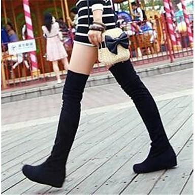 Damen Schuhe Nubukleder PU Herbst Winter Komfort Stiefel Für Normal Schwarz Rot