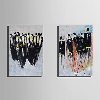 Hang festett olajfestmény Kézzel festett - Emberek Absztrakt Vászon