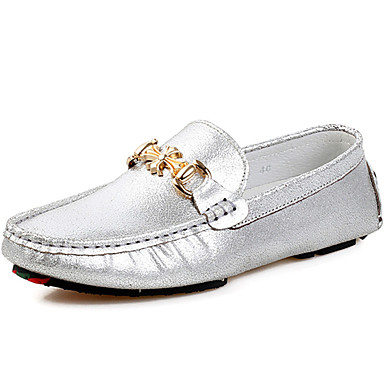 Men's Moccasin Nappa Leather Fall / Winter Loafers & Slip-Ons Gold / Silver / Party & Evening