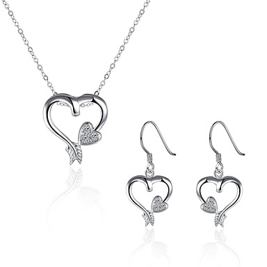 Women's Cubic Zirconia AAA Cubic Zirconia Jewelry Set - Zircon, Cubic Zirconia, Silver Plated Heart Ladies, Personalized, Punk, Fashion, Cute Include Drop Earrings Pendant Necklace Silver For Party