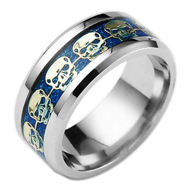voordelige Heren Ring-Heren Bandring Groefringen Titanium Staal Schedel Modieuze ringen Sieraden Goud / Zwart / Donkerblauw Voor Dagelijks 6 / 7 / 8 / 9 / 10