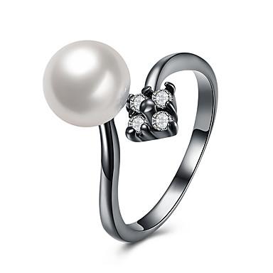 ieftine Inele la Modă-Pentru femei Perle Zirconiu Cubic manşetă Ring Perle Aliaj femei Lux Ciucure Boem De Bază Punk Inele la Modă Bijuterii Alb Pentru Nuntă Petrecere Bebeluș nou Cadou Serată Ieșire Ajustabil