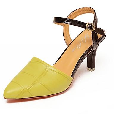 Damen Schuhe PU Sommer Fersenriemen Sandalen Walking Stöckelabsatz Spitze Zehe für Normal Grün Rosa