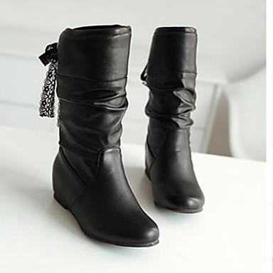 Damen Stiefel Komfort Herbst Winter Nubukleder PU Normal Weiß Schwarz Braun 10 - 12 cm