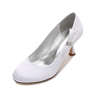 Női Cipő Szatén Tavasz / Nyár Kényelmes Esküvői cipők Cicasarok / Alacsony / Tűsarok Kerek orrú Strasszkő / Csokor / Szatén virág Kék /