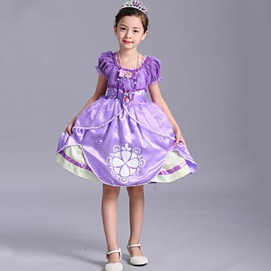 لفتاة فستان كارتون سادة طباعة قطن خريف كل الفصول كم قصير