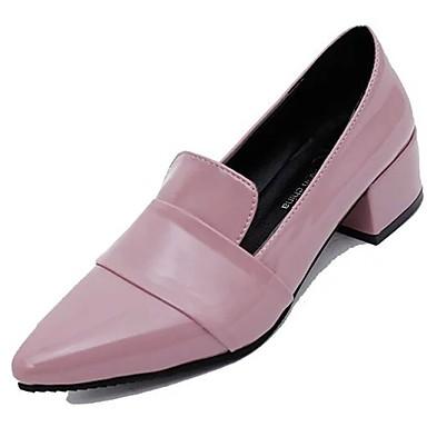 Női Cipő Lakkbőr Ősz Kényelmes Tornacipők Alacsony Erősített lábujj mert Ruha Fekete Rózsaszín Burgundi vörös