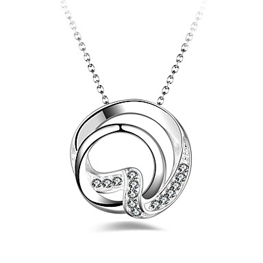 Women's Synthetic Diamond Geometric Pendant Necklace - Classic, Fashion Silver Necklace For Gift, Daily, Evening Party