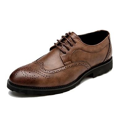 Férfi cipő Bőr Tavasz Nyár Ősz Tél Kényelmes Formai cipő Félcipők Fűző Kompatibilitás Hétköznapi Party és Estélyi Fekete Szürke Barna