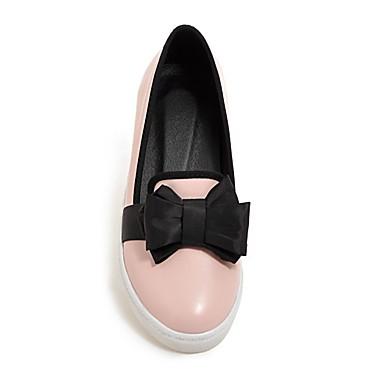 Damen Schuhe PU Frühling Komfort Flache Schuhe Flacher Absatz Runde Zehe Für Normal Weiß Rosa