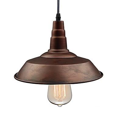 Diameter 26cm Vintage Pendant Lights 1-Light Metal Shade Living Room Dining Room Hallway Lighting Painted Finish