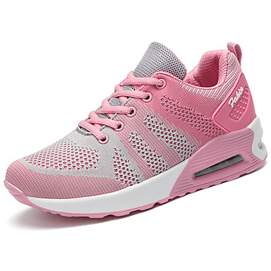 Women's Shoes Tulle Spring / Fall Comfort / Light Soles Sneakers Flat Heel Round Toe Lace-up Fuchsia / Green / Pink