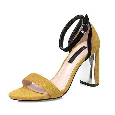 b1553b9aad Feminino Sandálias Tira no Tornozelo Verão Tecido Casual Social Presilha  Salto Grosso Preto Amarelo Verde Khaki