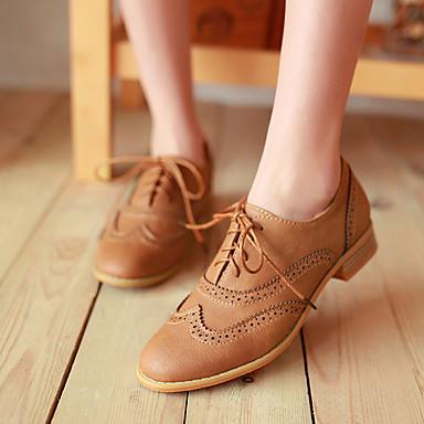 Damen Schuhe PU Herbst Komfort Flache Schuhe Flacher Absatz Niedriger Heel Stöckelabsatz Runde Zehe für Normal Schwarz Beige Gelb