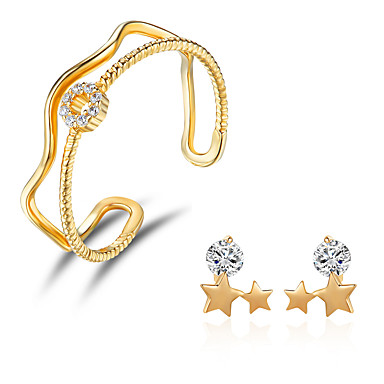 Női Kocka cirkónia Ezüst Ékszer szett - Divat / minimalista stílusú Arany Beszúrós fülbevalók / Gyűrű Kompatibilitás Ajándék / Napi